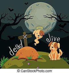 Opposite words for dead and alive illustration