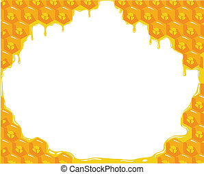 the orange background about honeycombs. Vector illustration