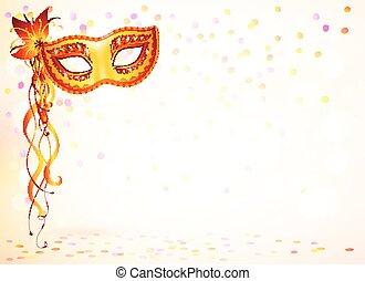 Orange vector carnival mask on pink bokeh light background