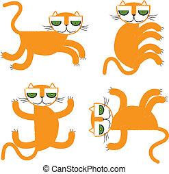 orange cat collection vector illust