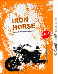 Orange background with motorcycle image. Vector illustration