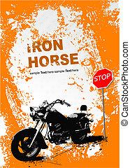 Orange background with motorcycle image. Vector illustration