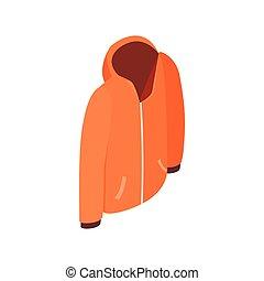 Orange hooded sweatshirt with zipper icon