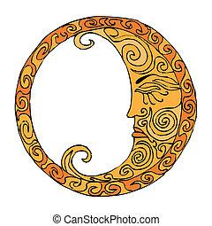 Orange Moon illustration on white background