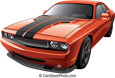 Detail vector image of modern muscle car, isolated on white background. File contains gradients and transparency. No blends and strokes. Easily edit: file is divided into logical layers and groups.