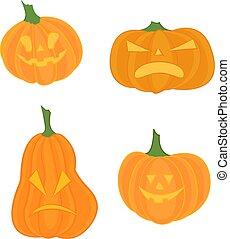 Orange scary pumpkin in thin line flat style. Halloween celebration. Vector illustration