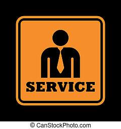 orange service icon isolated on black background