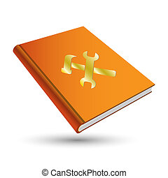 orange setting book with gold option 3d icon tools