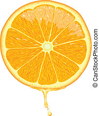 Illustration of orange slice with juice dripping.