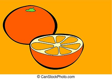 oranges in simple but bold drawing style