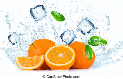 Oranges with water splash isolated on white