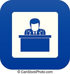 Orator speaking from tribune icon digital blue for any design isolated on white vector illustration