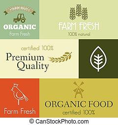 Organic and farm fresh food badges