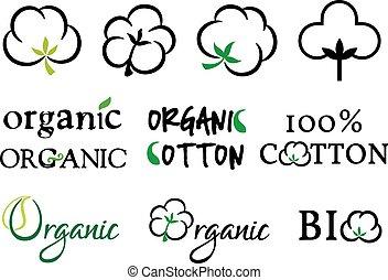 Organic cotton, vector set
