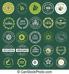 Organic food and drink labels and elements set