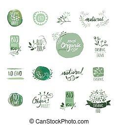 Organic food badges and elements