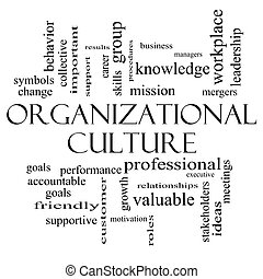 Organizational Culture Word Cloud Concept in black and white