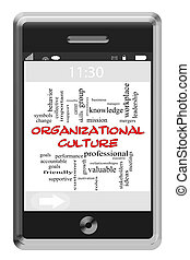 Organizational Culture Word Cloud Concept on Touchscreen Phone