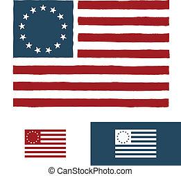 Original vintage American flag design with 13 stars