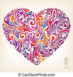 Floral Ornament Heart Pattern, editable vector illustration - EPS8