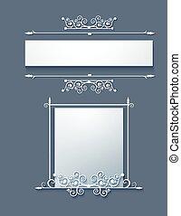 Ornamental frame with scrolls. Vector.