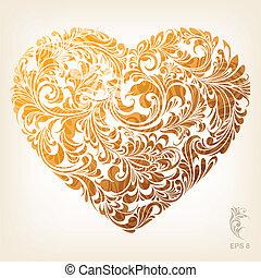 Ornamental Gold Heart Pattern