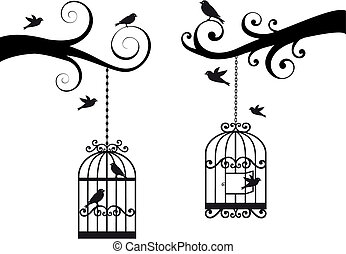 birdcage and birds, vector