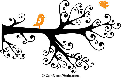 ornamental tree with swirly branches and birds, vector