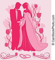 Ornate Bride and Groom Silhouette on floral tulip background