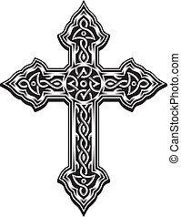editable vector illustration of ornate cross, suitable for design element, logo, coat of arms, or printing on t-shirt