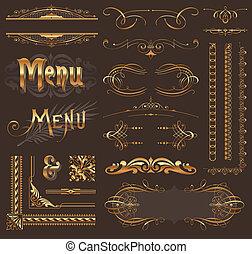 Ornate golden design elements & page decor