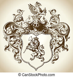 Ornate coat of arms vector illustration. Colors can be easily edited.