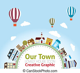 Our Town with Lovely House Icons (hot air balloon in the sky)