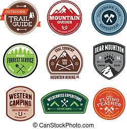 Set of outdoor adventure and expedition badges