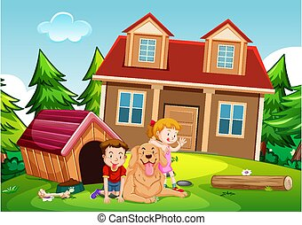 Outdoor scene with children playing with cute dog in front of the house