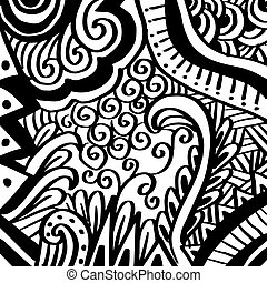 Outline abstract doodle pattern background.