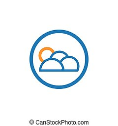 Outline cloud in a circle logo template