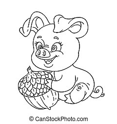 Outline cute cartoon happy pig holding a large acorn