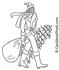 Outline drawing of walking Santa Claus with christmas tree and gifts bag