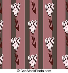 Outline flowers seamless doodle pattern in simple style. Striped background in pink colors.