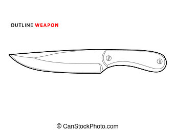 outline vector knife on white background