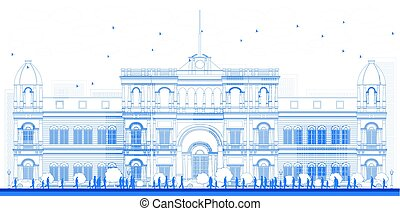 Outline university or college building in classic style. Vector illustration. Education concept with students and tree.