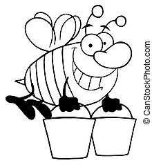Outlined Bee Carrying Two Buckets