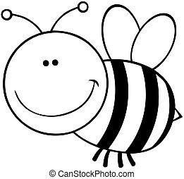 Outlined Bee Cartoon Character