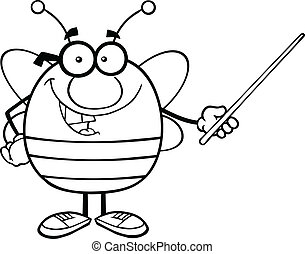 Outlined Bee Holding A Pointer