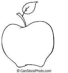 Outlined Cartoon Apple