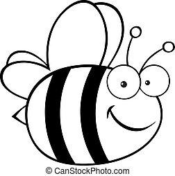 Outlined Cute Cartoon Bee