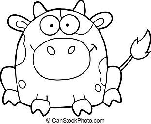 Outlined Cute Cartoon Cow