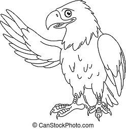 Outlined American bald eagle