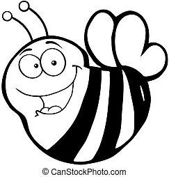 Happy Bee Cartoon Mascot Character
